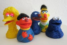 Vintage 1970's Sesame Street Finger Puppets. My brother and I played with these! Too funny.