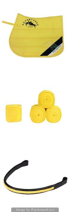 Horze Yellow Set - Horze Regina Allround Saddle Pad - Horze Acrylic Bandages - Horze Brighton Browband