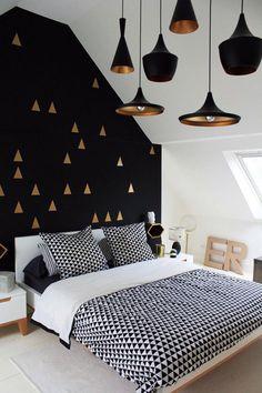 Интерьер для смелых: спальня в черном цвете