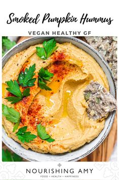 Creamy hummus meets smokey pumpkin in this simple, delicious and wholesome hummus recipe - with no added oil. The base is chickpeas with pumpkin pure and tahini - it's great for dipping, spreading and spooning. Its naturally vegan, gluten-free, soya-free and nut-free. #vegan #recipes #hummus #pumpkin #healthy Pumpkin Hummus, Vegan Pumpkin, Pumpkin Recipes, Savory Snacks, Vegan Snacks, Vegan Recipes, Nut Free, Dairy Free, Gluten Free