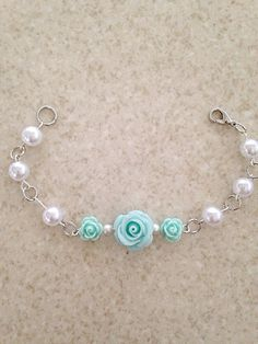Polymer Clay Seafoam Green Rose Beaded Link by RaindropsOnRosesBtq