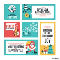 """Download the royalty-free vector """"Christmas and New Year's collection. Flat line design vector illustrations for greeting cards, website banners and badges, gift tags and marketing material."""" designed by PureSolution at the lowest price on Fotolia.com. Browse our cheap image bank online to find the perfect stock vector for your marketing projects!"""