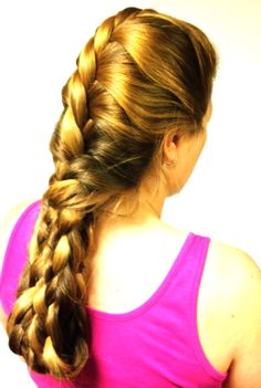 Braided Hairstyle: Two-strand Twist into tucked Basket-weave Braid.