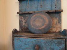 Small Blue Wood Bowl