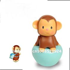 Lovely monkey style plastic tumbler/roly-poly music baby toy