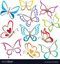 Illustration of Set abstract butterflies, coloured contour silhouettes on white background vector art, clipart and stock vectors. Butterfly Outline, Butterfly Books, Butterfly Drawing, Butterfly Template, Butterfly Design, Butterfly Images, Butterfly Wings, Art Papillon, Color Contour