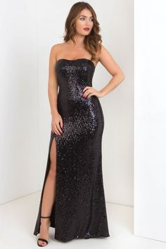 Irresistible Sequinned Bandeau Maxi Dress