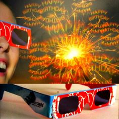 3D Brille Happy Birthday Diese 3D-Brillen sind der Renner als Geschenk, bei Hochzeiten, Geburtstagen und Firmenfeiern. Blickt man im Dunkeln durch sie hindurch, verwandelt sich jeder Lichtpunkt in ein leuchtendes Happy Burthday Symbol.