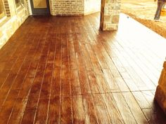 Concrete Wood, Stamped Concrete, Stained Concrete, Concrete Staining, Vintage Umber, Clear Sealer, Concrete Sealer. Concrete Finishes, Hardwood Floors, Flooring, Stamped Concrete, Landscaping, House Ideas, Exterior, Wood Floor Tiles, Wood Flooring
