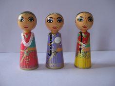 Krisha's wives, Rukmini, Jambavai, Satyabhama, peg dolls painted by Atita-guna
