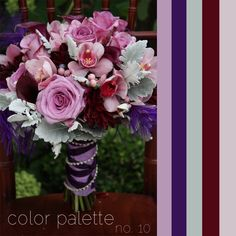 Colour Palette No. 10: Lavender, Deep Purple + Burgundy + Mint (Ignore that it's from a wedding site. I'd switch out 'mint' for a silvery grey.)