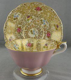 ROYAL ALBERT PRINCESS SERIES CUP & SAUCER, AVON SHAPE, PINK & GOLD, 1960'S