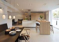 bulthaup b3 'Rough Sawn Oak' kitchen with Carl Hansen furniture and Gaggenau appliances in our Bath showroom.