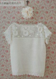 Un pull d'été avec un haut de granny fleuris au crochet : je vous propose ce pull très léger et délicat parfait pour l'été, il est réalisé avec un haut de granny