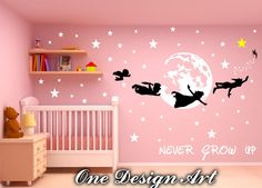 Peter Pan and Crew Never Grow Up wall decals mural arts sticker for interior decor kids inspiration vinyl decal nursery Neverland stars T025 by OneDesignArt on Etsy https://www.etsy.com/listing/271071465/peter-pan-and-crew-never-grow-up-wall