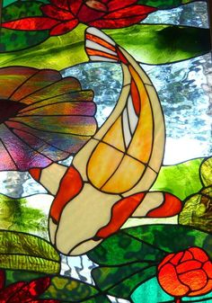 Koi stained glass panel by Cathedral Glassworks - Delphi Artist Gallery