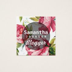Modern Pink Floral Blogger QR Code Square Business Card