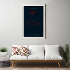VW Golf GTi Mk2 Poster, VW Golf GTi Mk2 print, Car poster print, Volkswagen print, Volkswagen Golf, GTi poster, Minimalist car poster.  All pieces are printed on heavyweight 230 gsm art paper in a lovely matt finish.  These prints can be printed to any size you want as each one is printed to order, so if you require a different size please get in touch.  The colour in your prints is likely to vary slightly from what you see on your monitor.  A4 prints will be posted in a sturdy envelope  A3…