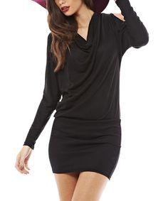 Another great find on #zulily! Black Drape Cutout Dress #zulilyfinds