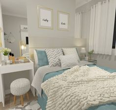 27 Small Bedroom Ideas Design Minimalist and Simple - Pandriva Diy Home Decor Bedroom, Small Room Bedroom, Bedroom Ideas, Master Bedroom, Bedroom Layouts, Dream Rooms, New Room, Room Inspiration, Bedroom Romantic