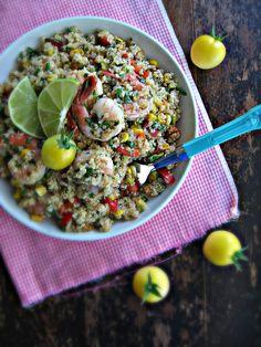 Chipotle Roasted Corn & Quinoa Salad w/ Prawns #Yum #Healthy #Dinner