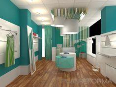 Tienda estilo moderno color verde, turquesa, blanco diseñado por AG Interiorismo - Interiorista   Copyright AG INTERIORISMO
