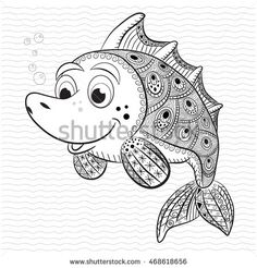 Antistress coloring book for adult and children. Funny fish.