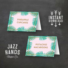 Tropical Food Labels DIY Printable Birthday by JazzHandsPaperCo