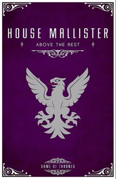 House Mallister. Game of Thrones house sigils by Tom Gateley. http://www.flickr.com/photos/liquidsouldesign/sets/72157627410677518/