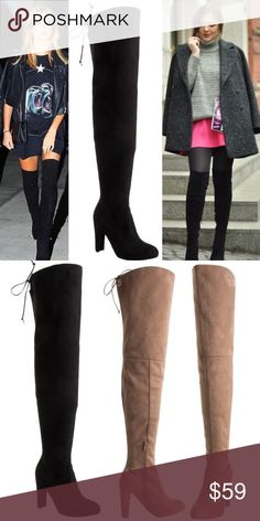 """♠️BLACK Thigh High Boots Faux suede upper and wrapped heel. Adjustable drawstring/cord. 4"""" heel. Zipper runs from footbed to mid leg. Calf, 15"""". Top of shaft, 19"""". Total height from heel tip to top of shaft, 30 1/2"""". CENTER IMAGE 1 and IMAGE 2 SHOW ACTUAL BOOT STYLE FOR SALE. Image 3 and image 1 left & right are for styling ideas only. As with all merchandise, seller not responsible for fit nor comfort. Brand new. No trades, no off App transactions. ♠️BLACK ONLY♠️       ❗️PRICE IS FIRM…"""