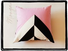 Geometric abstract pillow - handmade pillow - triangle geometric - 12X12 inches - black, white and pink pillow - decorative pillow cover