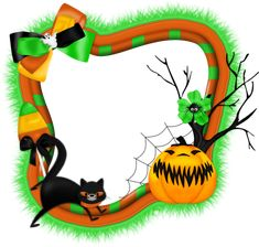 Halloween Transparent PNG Photo Frame with Pumpkin and Cat
