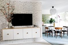 Jenny toned down. I love Lucy's Home Makeover. Accent wall covered in  The (fully removable and reusable!) wallpaper tiles from Hygge & West.