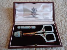Vintage Asprey PLC Hand Painted Enamel Thimble Sewing Kit | eBay