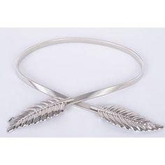 Women Metal Leaves Elastic Waist Dress Belt