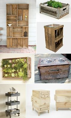 Love the crate with the glass top...want to find one and mount to the wall as a bedside table.