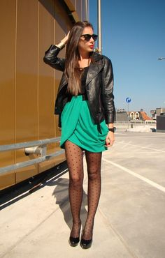 Love green tulip skirt with polka dot tights  ||from $9.50 @Amazon.com http://www.amazon.com/gp/product/B009E8F6O4