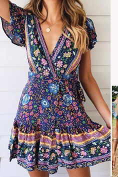 Cute summer dress and hair Vintage Summer Dresses, Cute Summer Dresses, Mini Dresses, Dress Vintage, Short Dresses, Button Dress, Ruffle Dress, Dresses Online, Clothes For Women