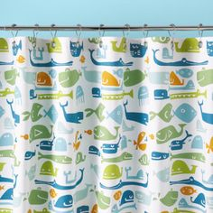 Kids Bathroom Accessories: Kids Fish Pattern Shower Curtain - Fish and Whales Shower Curtain by The Land of Nod $49