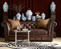 American rustic style: Chesterfield sofa.