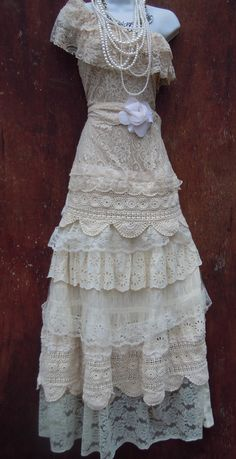 Boho Wedding Dress nude cream vintage tulle by vintageopulence