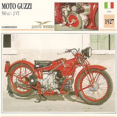 Vintage 1927 Moto Guzzi 500 CC 2 VT Competition Italian Motorcycle Large Photo | eBay
