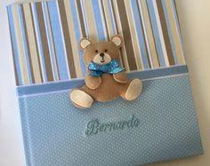 Livro/Diário do Bebê Urso Azul e Marrom