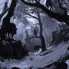 Donovan Valdes is an artist specializing in concept design and illustration. Dark Fantasy Art, Fantasy World, Dark Art, Fantasy Creatures, Mythical Creatures, Art Noir, Anime Wolf, Fantasy Landscape, Cover Art