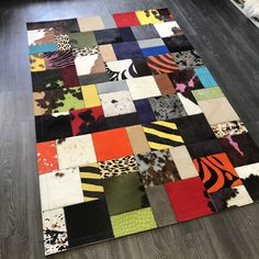 Patchwork Rugs, Patchwork Patterns, Cowhide Rugs, Cowhide Leather, Colorful Rugs, Floors, Area Rugs, Vibrant, Scrap
