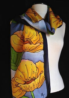Gorgeous hand painted silk scarf yellow by FantasticPheasant, $45.00