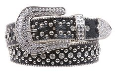 Ladies Rhinestone Studs Croco Print Leather Belt Color: Black Size: L/XL - 39 Made by #beltiscool Color #Black. Snap closures. Tiny metal ball chain. Nickel plated hardware. All rhinestone and studs hardware are riveted to the belt.. Western buckle sets