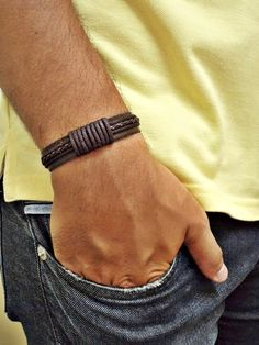 Men's Jewelry That Can For Accessories Him Style 08 - Fashionmgz Braided Bracelets, Bracelets For Men, Fashion Bracelets, Men's Fashion Jewelry, Leather Accessories, Leather Jewelry, Leather Craft, Leather Projects, Jewelery