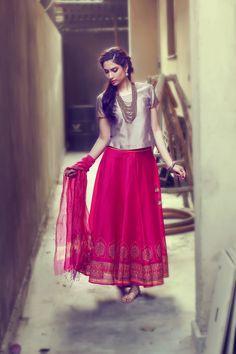#fuchsia #skirt #ghera #top #handblock #print #khari #metallic #women #fashion #Fabindia