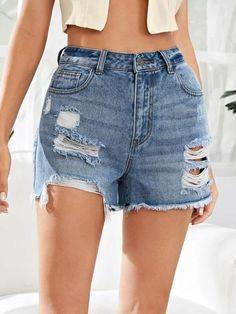 Denim Shorts Style, Trendy Fashion, Fashion Outfits, Shorts Sale, Denim Fabric, Stretch Denim, My Style, Casual, Zipper